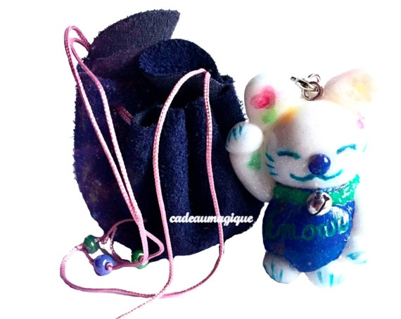 miniature leather purse kawaii lucky charm in fimo original gift idea