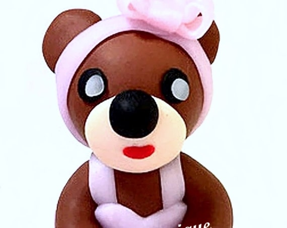 Fimo figure - brown bear in pink tutu: deco gift little girl