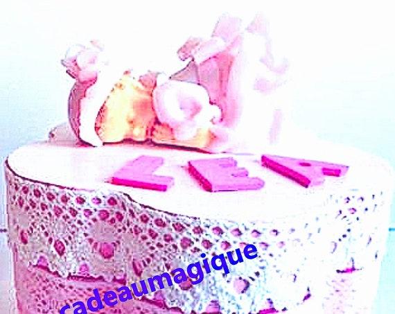 flower box wood figurine fimo to customize: custom baby gift idea