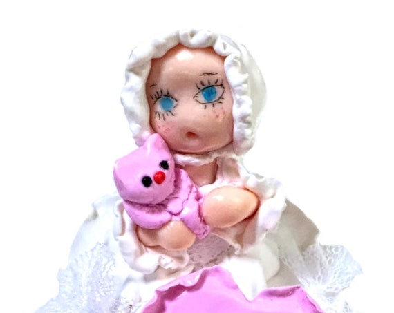 stern fimo - white dress - pink teddy bear - deco room bebe girl