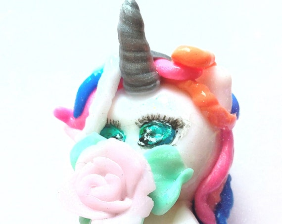 multicolored kawaii unicorn in fimo: children's bedroom decoration