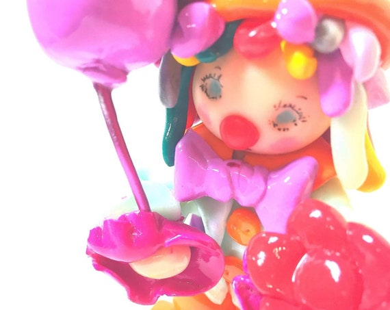 Pretty multicolored clown personalized in fimo: birthday gift