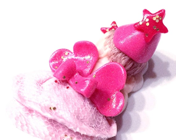 Adorable baby girl pink fairy and sequins fimo-announcement pregnancy