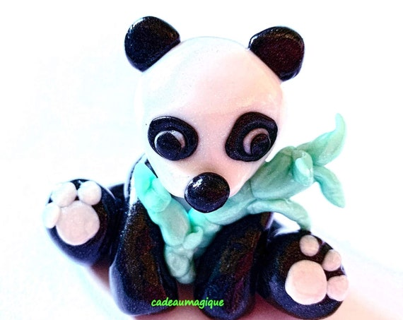 panda and its bamboo figurine fimo: miniature animals decoration