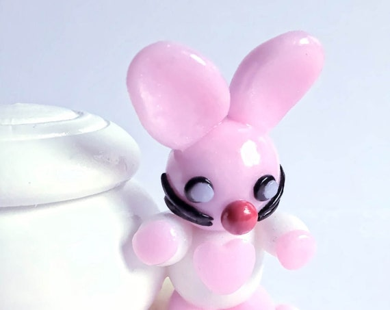 Round wood box with fimo pink rabbit: personalized baby child gift idea