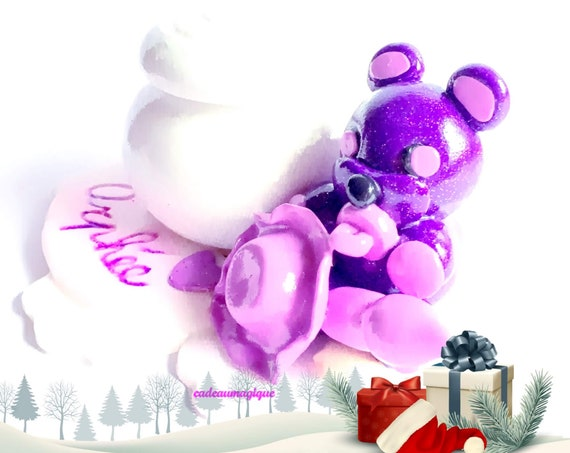 fimo figurine - lavender kawaii bear - wooden box - bebe gift personalizes
