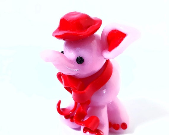 pink elephant red scarf in fimo for deco gift baby shower birthday baptism