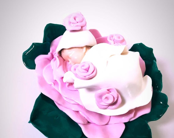 baby in pink fimo: deco baby shower baptism cake