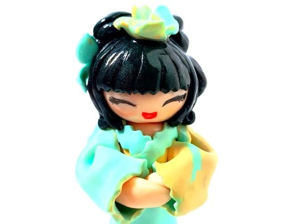 Japanese doll in orange green kimono fimo: girl gift