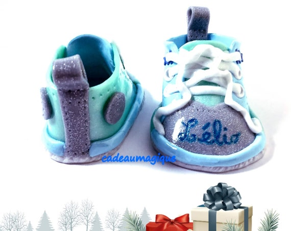 Baby shoes first name in fimo personalized baby gift