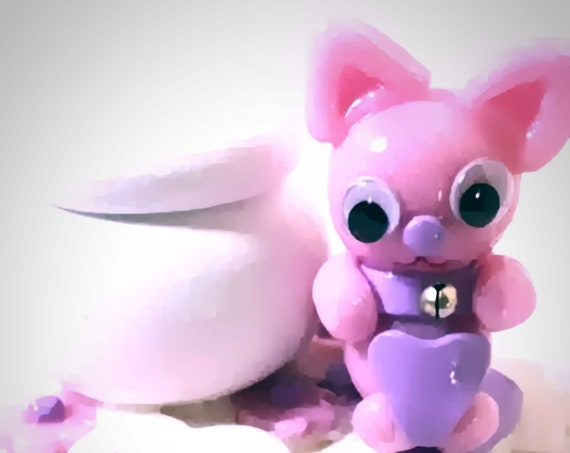 "wooden box ""Louise"" figurine cat kawaii pink fimo: personalized gift girl"