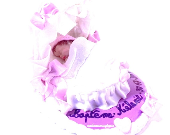 newborn in cradle on fimo pedestal: personalized baby gift
