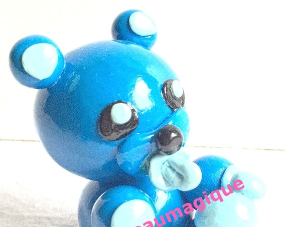 blue kawaii bear with his bottle and tototte in fimo: pregnancy announcement
