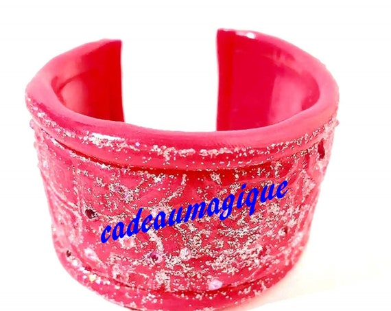 fushia adjustable cuff and sequins in fimo gift glamorous girl woman