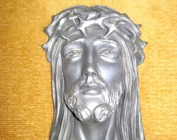 golden frame jesus christ in tin: vintage wall decoration