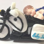 figurine baby shorts blue glitter, motorcycle, black, white, handmade fimo, cake topper, decoration, birth, baby shovwer, christening, gift idea