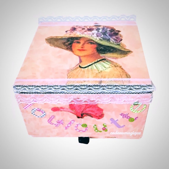 """custom box """"Louloutte"""" cardboard deco vintage made in France"""