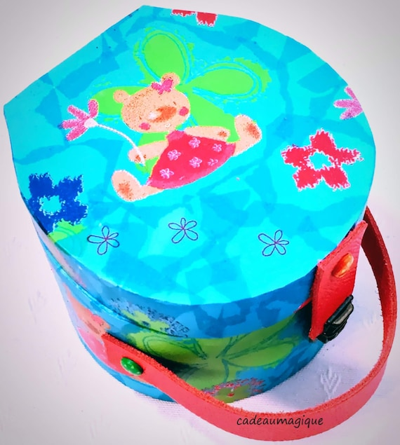mini suitcase round turquoise cardboard décor little bear: child gift idea