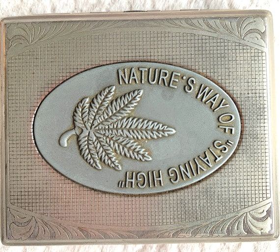 """""""Nature's Way Of Staying High"""" silver metal cigarette case: original gift idea"""