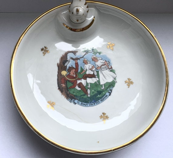 Vintage Heating Plate with Baby Boiled Pasta and Emaux de Limoges - he was a little man