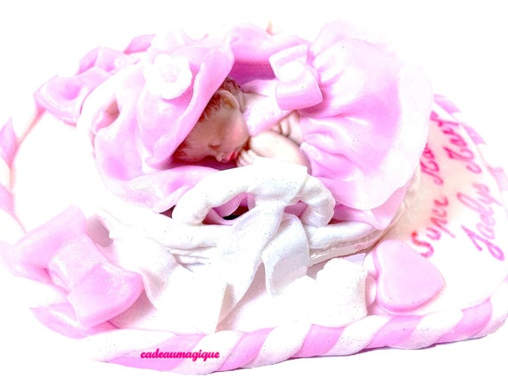 Baby miniature girl dress baptized pink - fimo - birth gift personalizes