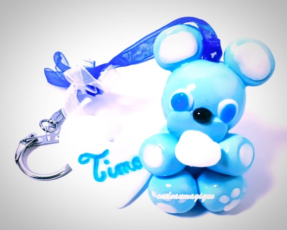 keyrings first name bear kawaii blue in fimo: gift to customize