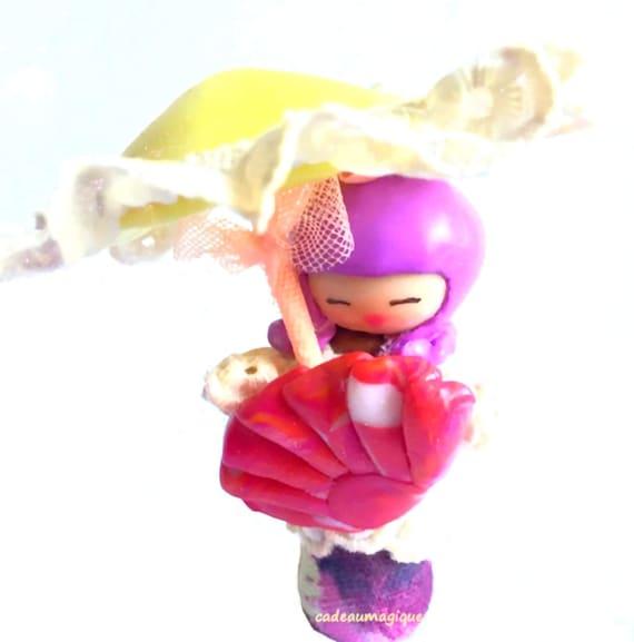 umbrella fimo doll and Japanese kimono cloth fan - original gift
