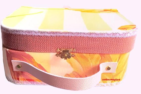 vintage orange cardboard suitcase - gift box - baby shower - birth
