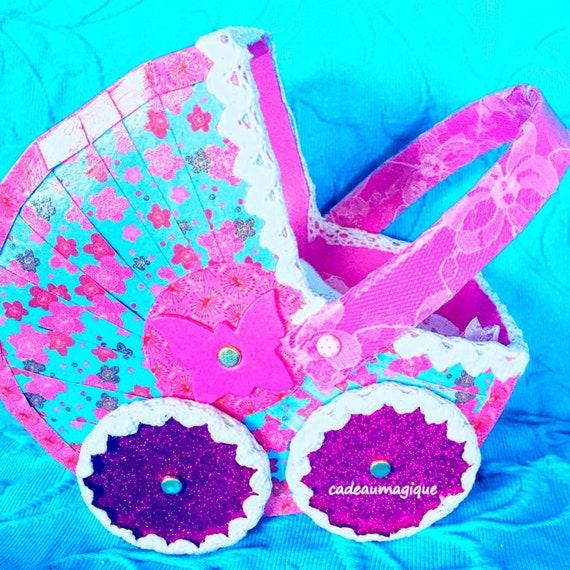 miniature pram pink cardboard - personalized birth gift