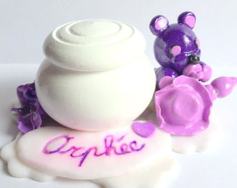 Teeth box / box wood/bear/fimo/lilac/custom/made round hand/decoration/idea gift daughter/bear/white/customizable/glitter