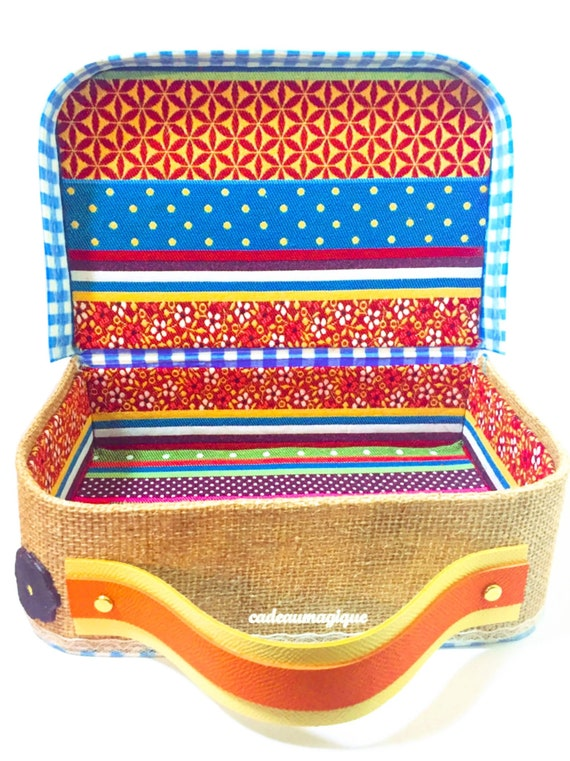 vintage suitcase fabric vichy gypsy cardboard: decorative storage box