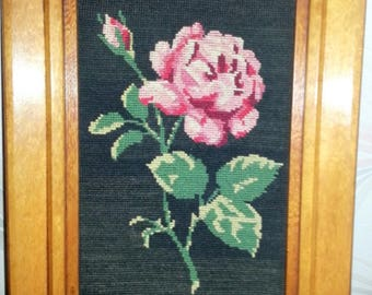 Made hand, canvas, tapestry, fact hand/rose/frame/wall decoration / frame wood/vintage/idea gift/flowers/roses/table/artisanal/unique