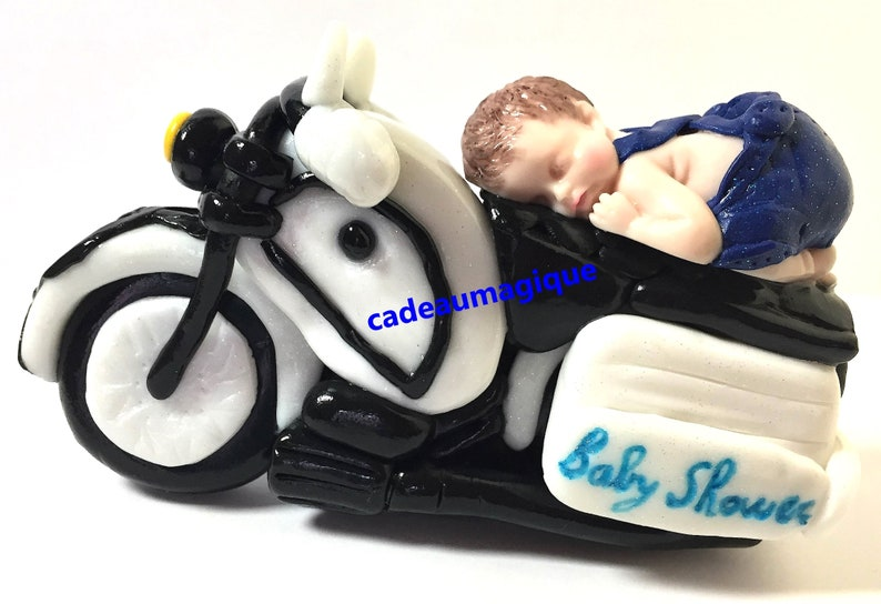 Ideas Tarjetas Baby Shower.Baby Shower Decoration Cake Toppers Baby Boy Fimo Motorcycle Cadeaumagique