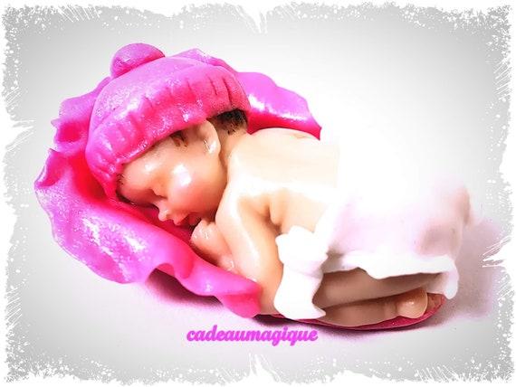 miniature baby - birth cap fuchsia figurine fimo - pregnancy announcement