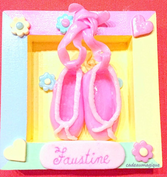 pastel wood frame with pink ballerina in fimo: girl bedroom decoration