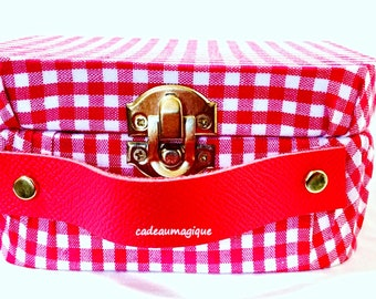 vintage red vichy suitcase, cardboard storage box: gift box