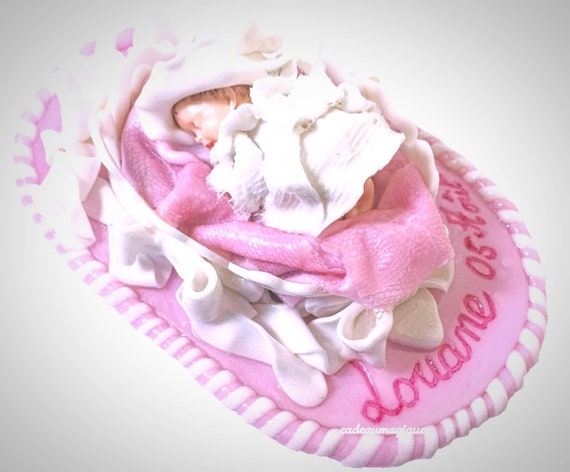 baby girl dress boho chic couffin fimo - shabby chic deco