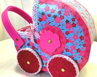 Mini pram toy cardboard hand made - gift box birth  - birth box- gift of baptism - Cradle Toy - decoration - cardboard