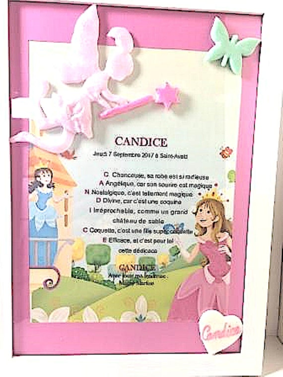 white frame, first name poem, fimo fairy: deco mural princess theme