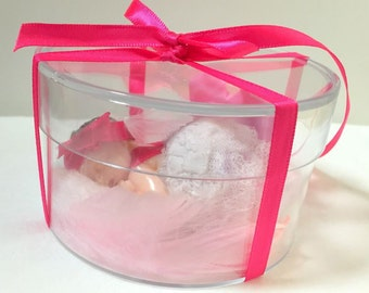 Box sponsor gift/Miniature/baby/fimo/white/lace/fuchsia/pink/gift idea/christening/godmother gift/baby shower/custom/handmade