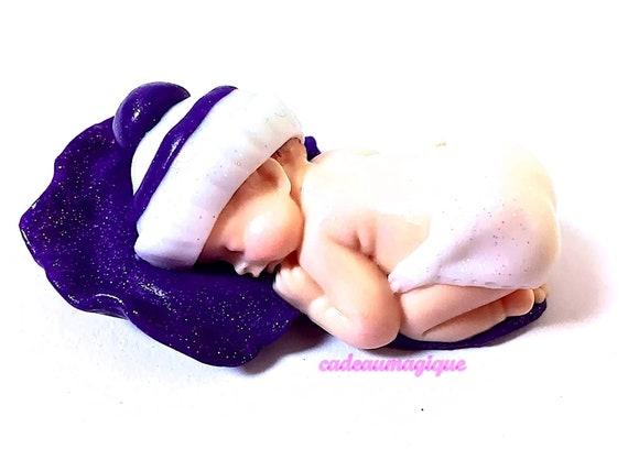 miniature baby - birth cap - fimo figurine - godmo godfather gift