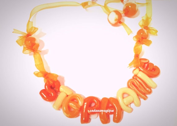 necklace with first name, orange tones in fimo: personalized gift little girl