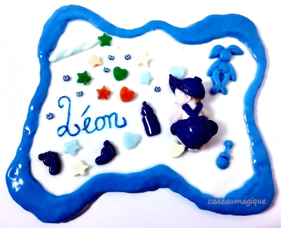 Baby bedroom wall decoration in fimo: baby boy birth
