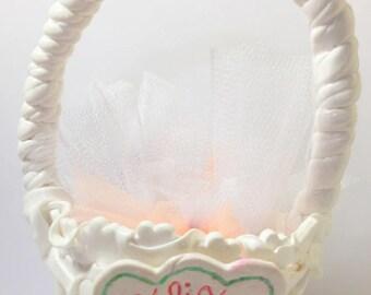 Handmade / creating fimo/basket/sweets/white/custom/customizable/decoration wedding/sugared almonds wedding/table/wedding decoration