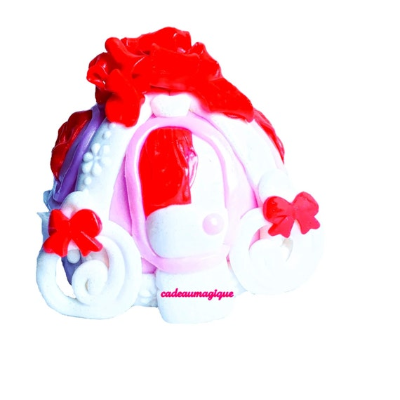 Adorable pumpkin carriage pink quartz fuchsia fimo - little girl piggy bank
