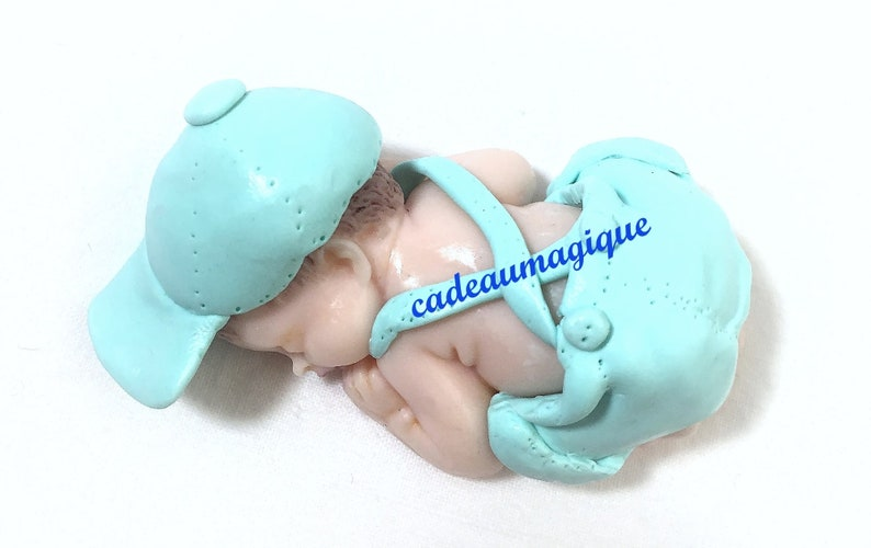 baby shower decorations announces pregnancy baby boy miniature fimo bermuda cap handmade