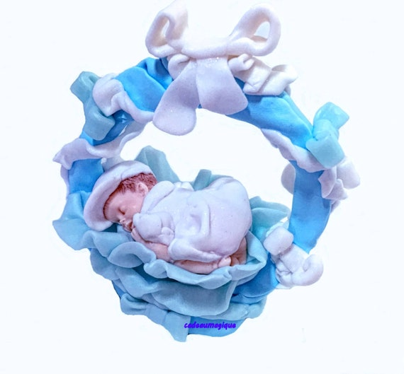 fimo figurine - miniature bebe round basket - birth gift personalizes boy