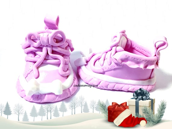 glamorous pink girl baby shoe in fimo birth gift idea