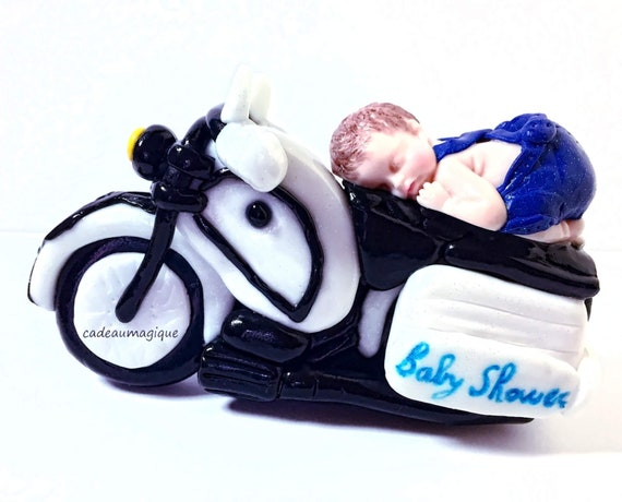 motorcycle with baby biker fimo - birth gift personalizes