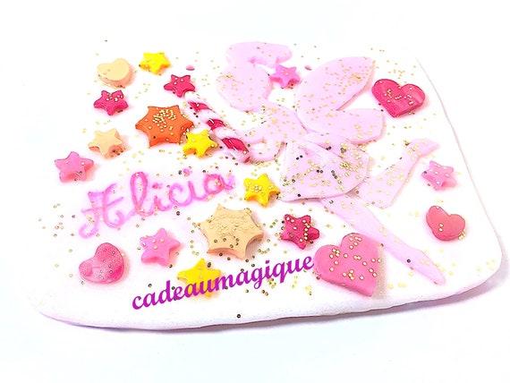 custom frame, fairy, magic wand in fimo: girl bedroom wall decoration